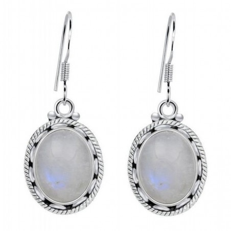 Handcrafted Rainbow Moonstone Gemstone Dangle Drop Earrings