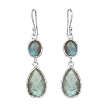 Handcrafted Labradorite Gemstone Dangle Drop Earrings