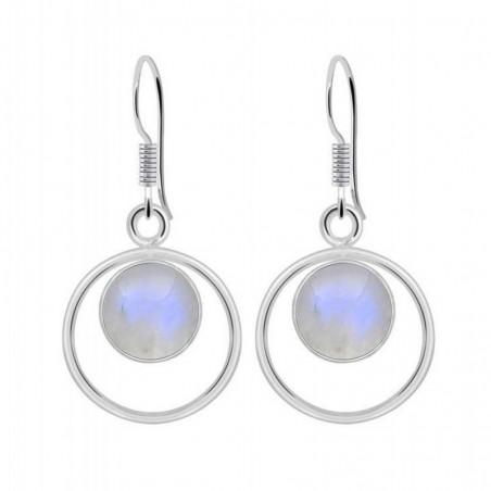 Artisan Crafted Rainbow Moonstone Gemstone Dangle Drop Earrings