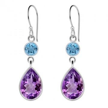 Beautiful Blue Topaz & Amethyst Gemstone Dangle Drop...