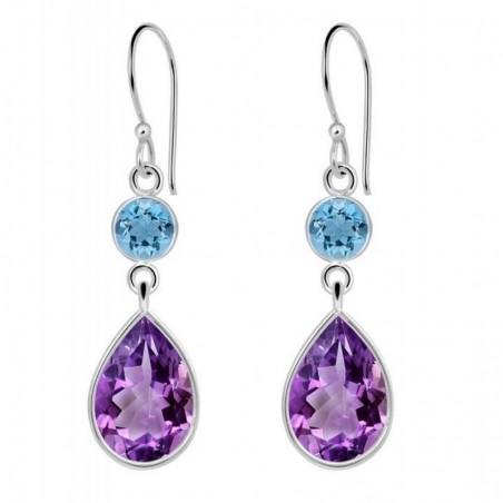 Beautiful Blue Topaz & Amethyst Gemstone Dangle Drop Earrings