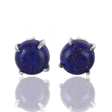 Natural Lapis Lazuli Cabochon Stone Studs Earrings