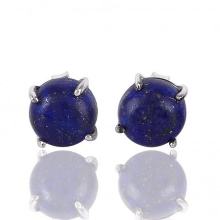Natural Lapis Lazuli Cabochon Stone Studs Earrings