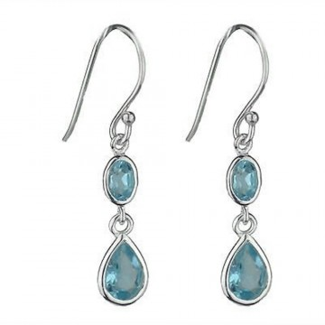 Beautiful Blue Topaz Gemstone Dangle Drop Earrings