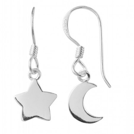 Amazing Design Sun And Moon Plain Dangle Earrings