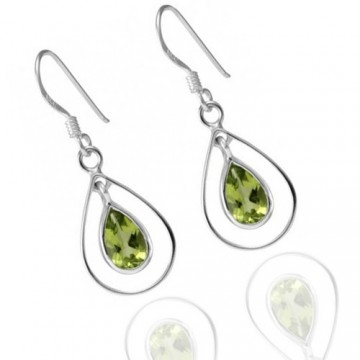 Beautiful Peridot Gemstone Dangle Drop Earrings