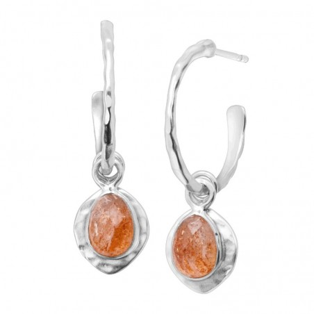 Hammered Sun Stone Gemstone Dangle Drop Earrings