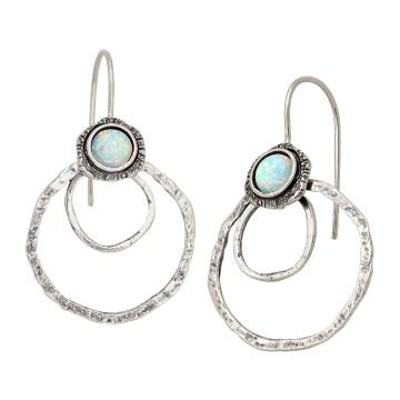 Hammered Opal Gemstone Dangle Drop Earrings
