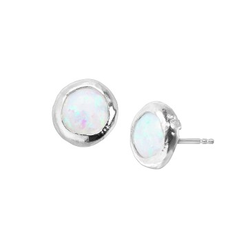 Textured Opal Cabochon Gemstone Studs Earrings