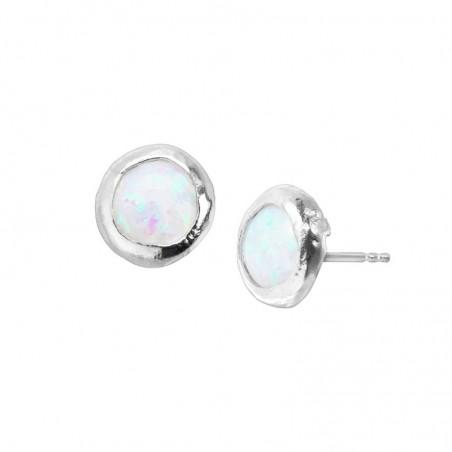 Textured Opal Cabochon Gemstone Studs Earrings