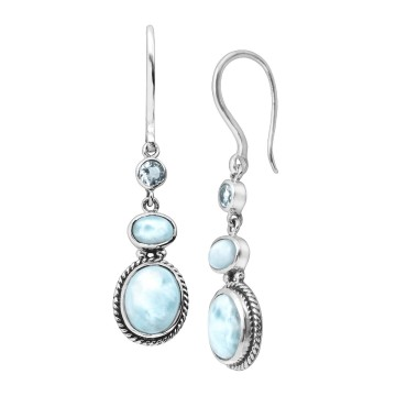 Beautiful Larimar & Blue Topaz Gemstone Dangle Drop Earrings