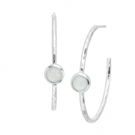 Hammered Aqua Chalcedony Gemstone Hoop Earring
