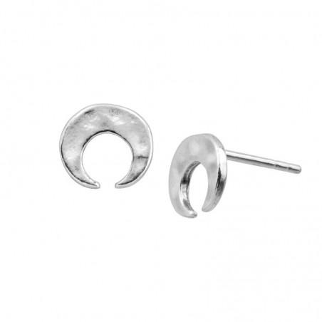 Hammered Plain Moon Studs Earrings
