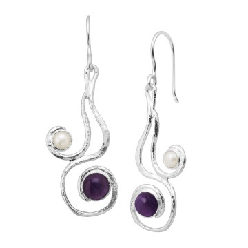 Beautiful Hammered Amethyst & Pearl Gemstone Dangle Drop...