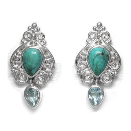 Best Quality Turquoise & Blue Topaz Gemstone Cabochon Stone Studs Earrings