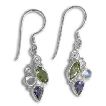 Handcrafted Rainbow Moonstone , Peridot & Iolite Gemstone...