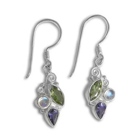 Handcrafted Rainbow Moonstone , Peridot & Iolite Gemstone Dangle Drop Earrings