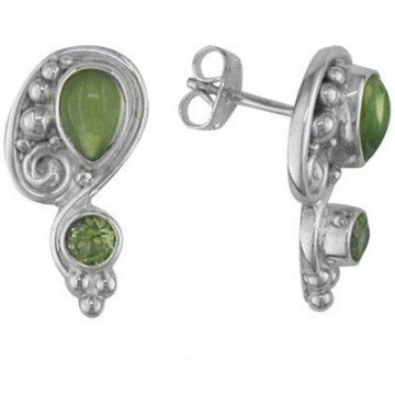 Exclusive Peridot Gemstone Cabochon Stone Studs Earrings