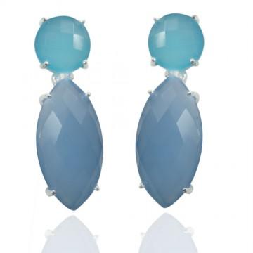 Elegant style Aqua Chalcedony & Blue Chalcedony Gemstone...