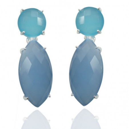 Elegant style Aqua Chalcedony & Blue Chalcedony Gemstone Studs Earrings
