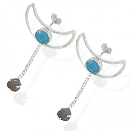 Beautiful Blue Chalcedony & Grey Chalcedony Gemstone Studs Earrings