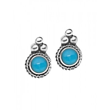 Artisan Crafted Sleeping Beauty Turquoise Gemstone Studs...