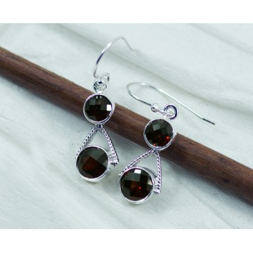 Handmade Garnet Gemstone Dangle Drop Earrings