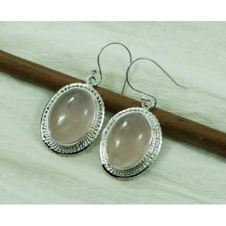 Artisan Crafted Rose Quartz Gemstone Dangle Drop Earrings