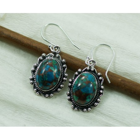Exclusive Blue Turquoise  Gemstone Dangle Drop Earrings