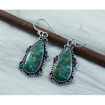 Amazing design Blue Copper Turquoise  Gemstone Dangle...