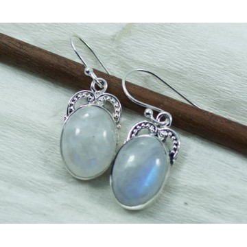 Wonderful Rainbow Moonstone Gemstone Dangle Drop Earrings