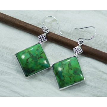 Exclusive Green Turquoise  Gemstone Dangle Drop Earrings