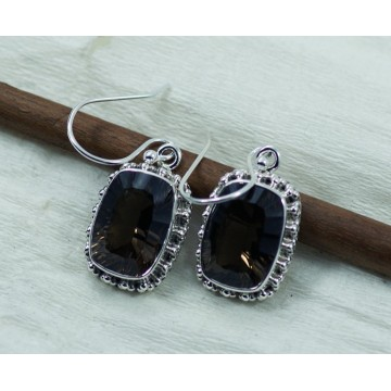 Beautiful Smokey Quartz Gemstone Dangle Drop Earrings