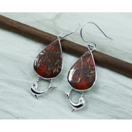 Elegant style Red Copper Turquoise Gemstone Dangle Drop Earrings