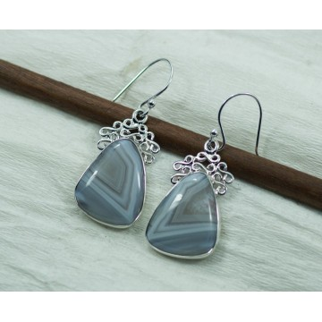 Wonderful Blue Less Agate Gemstone Dangle Drop Earrings