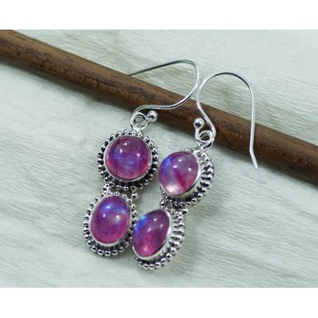 Handmade designer Pink Moonstone Gemstone Dangle Drop Earrings