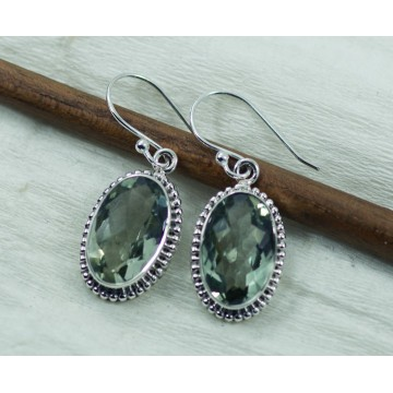 Elegant style Green Amethyst Gemstone Dangle Drop Earrings