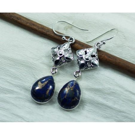 Handmade Copper Turquoise  Gemstone Dangle Drop Earrings