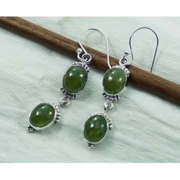 Elegant style Prenite Gemstone Dangle Drop Earrings