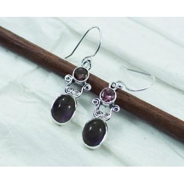 Elegant style Amethyst Gemstone Dangle Drop Earrings