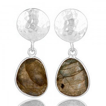Hammered Labradorite Gemstone Studs Earrings