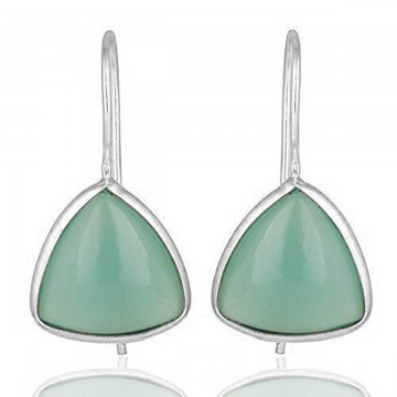 Elegant style Aqua Chalcedony Gemstone Dangle Drop Earrings