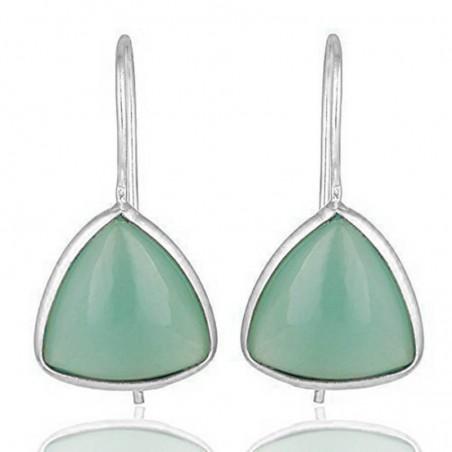 Elegant style Aqua Chalcedony Gemstone Dangle Drop Earrings