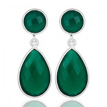 Beautiful Green Onyx  Gemstone Studs Earrings