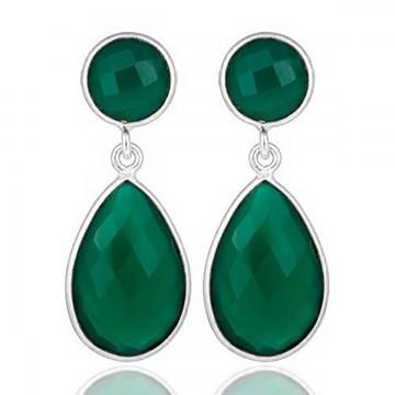 Beautiful Green Onyx  Gemstone Studs Earrings