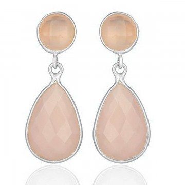 Wonderful style Rose Quartz Gemstone Studs Earrings