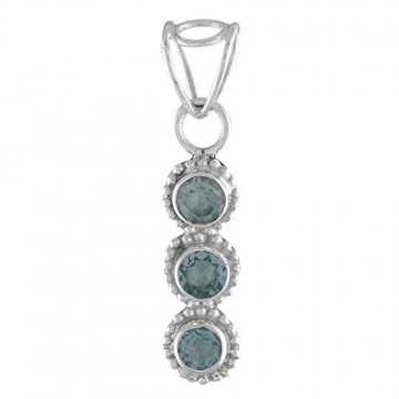 Beautiful Handmade Blue Topaz Faceted Gemstone Pendants
