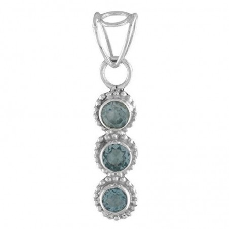 Beautiful Handmade Blue Topaz Faceted Gemstone Pendants