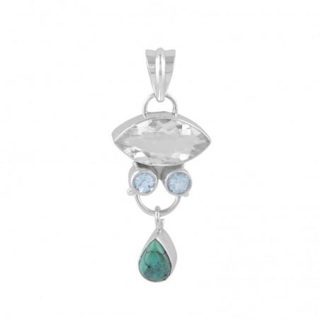 Designer Handmade Clear Quartz ,Blue Topaz & Turquoise Gemstone Pendants