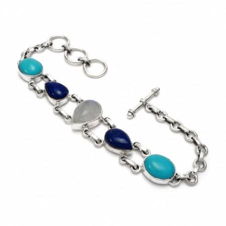 Beautiful Rainbow Moonstone, Lapis Lazuli, Turquoise Gemstone Bracelets